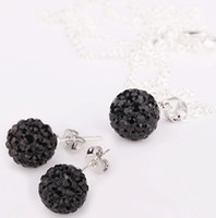 Crystal, Rhinestone black bead necklace set - 2013 new mm Black Shamballa Crystal Disco Ball Beads Crystal Chain Pendant Necklaces Earrings Studs Set