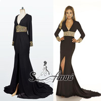 Wholesale High Quality Exquisite V Neck New Fashion Side Slit Chiffon Long Sleeves Prom Dresses Sweep Train Evening Dresses1017