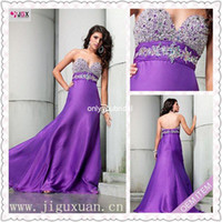 Wholesale 0456 hs fashionable purple strapless beaded long name brand evening dress