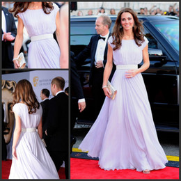 Classic Kate Middleton Red Carpet Dresses Lilac Long Prom Dresses Long Formal Evening Party Gowns with Sash