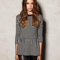 Wholesale Hepburn Houndstooth Sweater Knitwear Women Cotton Blended Fashion Women Sweaters Knitwears Europe Style G080