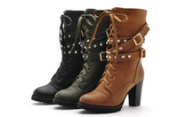 Wholesale Women s Lacing Up Rivet Martin Boots Medium Cut Warm With Thick Heel Boots Warm Platform Shoes For Women s Boots Online Cheapest Sale New