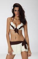 оптовых bikini-оптовые продажи --- 1628 цвета слоновой кости Белый / коричневый бикини юбка купальник 3PC, размер S / M / L / XL / 2XL