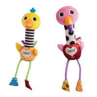 Wholesale Lamaze New two singing birds Toy flamingo and ostrich hand rods Bird plush baby toys Stuffed Doll