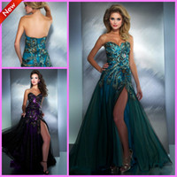 A-Line Sexy Appliqué Hot Sales2014 Sleeveless Sweetheart Front-slit Applique Beaded Sexy Prom Dresses Peacock Green Purple Formal Women's Gowns Evening Celebrity