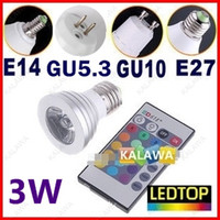 Wholesale 3W LED RGB spotlight LED BULB with remote controller color change lamp E27 E14 GU10 GU5 base RGB FFF freeshipping