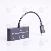 Data Cable Adapter For Apple  Micro Usb Hub Card Reader OTG Mobile Phone Keyboard Mouse SG-007 Connection Kit For Galaxy S2 S3 Note Free Shipping card reader+HUB 10pcs