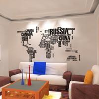 al por mayor decoración de mapas-Pegatinas libres del envío del mapa del mundo pared, hogar Arte Decoración de pared Calcomanías para sala de estar, dormitorio