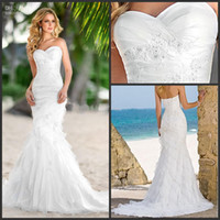 Wholesale New Cheap Beach Sweetheart Fold Mermaid Wedding Gowns Court Train Applique Bridal Dresses