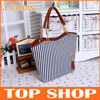 Shoulder Bags Women Stripes Cheap Womens Shoulder Bags Canvas 3Colors 2 root Stripe Tassel Zipper Medium soft Totes Hobo Handbag,XB0001