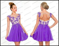 A-Line Sexy Appliqué 2013 Sheer Short Purple Chiffon Cocktail Party Dresses Beads Appliques Sexy Open backless Zuhair Murad Inspired Mini Evening Dresses Cheap