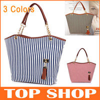 Totes Women Stripes European and American style Fashion Girl Women Outdoor Zipper Stripe Tassel Totes Hobo Shoulder Bag Handbag 3Colors XB0001