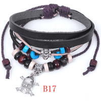 Wholesale Hot Fashion X Skull Bracelet Colorful Bead Leather Alloy Charm Bracelets Perfect Christmas Gift B17