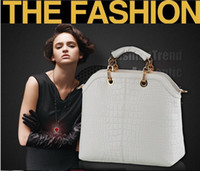 Women designer handbags brand name - 2013 HOT top quality named brand Crocodile composite leather women handbag chain fashion white big designer bag freeship86230