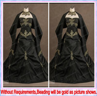Wholesale 2013 Vintage Black Taffeta Gothic Victorian Ball Gown Wedding Dresses with Free Wrap Shiny Gold Beaded Bubble Bridal Gowns Buy Get Sale