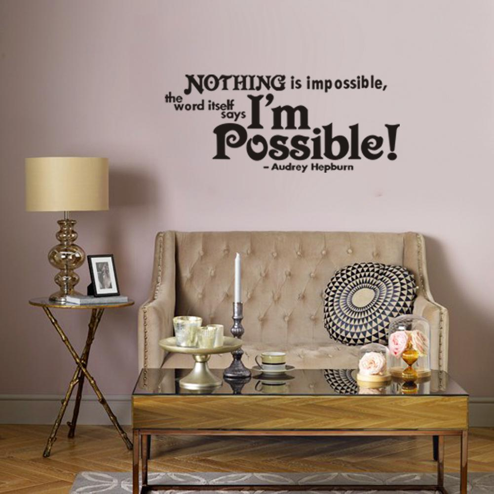 Nothing Is Impossible Vinyl Wall Lettering Stickers Quotes