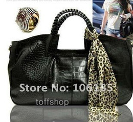 Wholesale BEST SELLING new Europe and America women s snake crocodile LEATHER HANDBAG match SCARVES Promotion