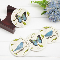 Wholesale Dia cm Classic Color Absorbent Ceramic Cup Coaster with Wooden Base Fashion Placemat Restaurant Supplies SH022