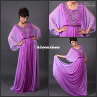 Reference Images Jewel/Bateau Chiffon 2014 DHgate Long Sleeves Jewel Neck Beaded Purple Chiffon Arabic Dubai Abaya Kaftan Evening Prom Dresses Long Floor Length E