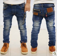 Wholesale 5pcs zipper design children s boys jeans denim long pants spring autumn wear ZZ1358