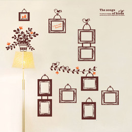 SONGS OF BIRDS Lettering Wall Decals and Brown Photo Frames Art Home Decor Wall Stickers for Living Room Bedroom