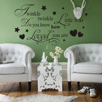 Wholesale Twinkle Twinkle Little Star Vinyl Wall Lettering Stickers Quotes and Sayings Home Art Decor Decals Stickers