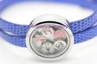 Women's Party Alloy 6 pcs blue leather chain floating charm glass memory living locket bracelet
