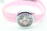 Women's Party Alloy 6 pcs pink leather chain floating charm glass memory living locket bracelet