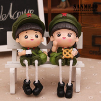Wholesale Red Army Lover Doll Resin Handicraft furnishing article home decor christmas gift wedding present toys lovely accessories