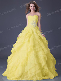 Wholesale New GK Strapless Organza Ball Gown Wedding Party Dresses Gown Prom Evening Dress CL3411