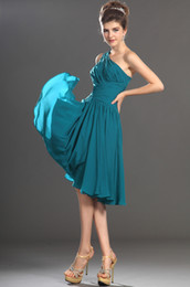 Wholesale Simple Fashion One shoulder Ruffle Designs Peacock Chiffon Short Knee Length Prom Dresses under JK39