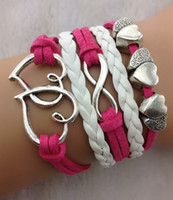 Charm Bracelets american mints - Infinity double heart Charm Bracelets in Silver Mint roseo Wax Cords and Leather Braid