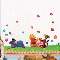 Removable winnie the pooh - Winnie the Pooh Animals and Flowers Cartoon Wall Stickers for Nursery Kids Room