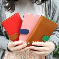 Women PU Wallet HOT SALES! high quality colorful brocking envelope ladies' purses,fashion style leather purses+free shpping(red pink brown)