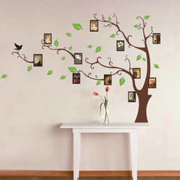 Large Art Photo Frames Tree Wall Decor Stickers-Green Leaves on the Tree Branches, Home Wall Decals Murals for Living Room Bedroom