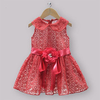 Wholesale Halloween Girls Party Dress Kids Red Cotton And Lace Christmas Dresses For Children New Year Wear Baby Clothes Hot Sellers