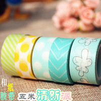 Wholesale Washi Tape Paper Masking Tape Adhesive Invite Dots Twill Floral Seamless Stickers Refill Remarks Stationery Sticky Japanese Gift Wrap m
