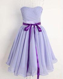 Simple style a-line Strapless Ruffle Lilac chiffon knee length back elastic evening dresses Bridesmaid Dresses