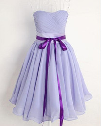 New simple style a-line Strapless ruffle Lilac chiffon knee length evening dresses Bridesmaid Dresses