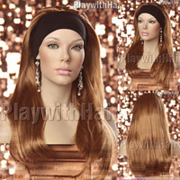 Wholesale XXXLong Headband Hair Extensions Strwbry Blonde half wig wigs clip in on hair