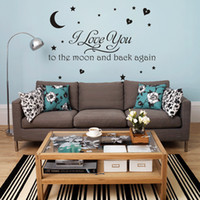 Removable adhesive backed vinyl - I Love You Moon and Back Again vinyl Wall Stickers Quotes Home Decor Art Decorative Wall Decals for Kids
