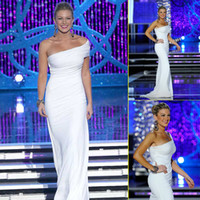 america bridal - 2013 Miss America Mallory Hagan Pageant Dresses White Pleats One Shoulder Elastic Satin Sheath Sweep Train Party Prom Bridal Dress Gown