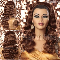 Wholesale Fingerwave Hair Piece Extensions Light Auburn synthetic hair wig wigs