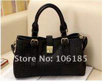 Wholesale Hot Discount High quality freeshipping women s Europe fashion designer Hasp black leather handbag bag Promotion