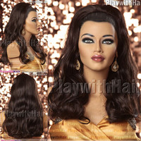 Wholesale Waved Wig Hair Piece Extensions Coffee Brown synthetic hair wig wigs