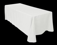 Wholesale 100 Polyester White rectangle tablecloth cm cm for wedding party and other events