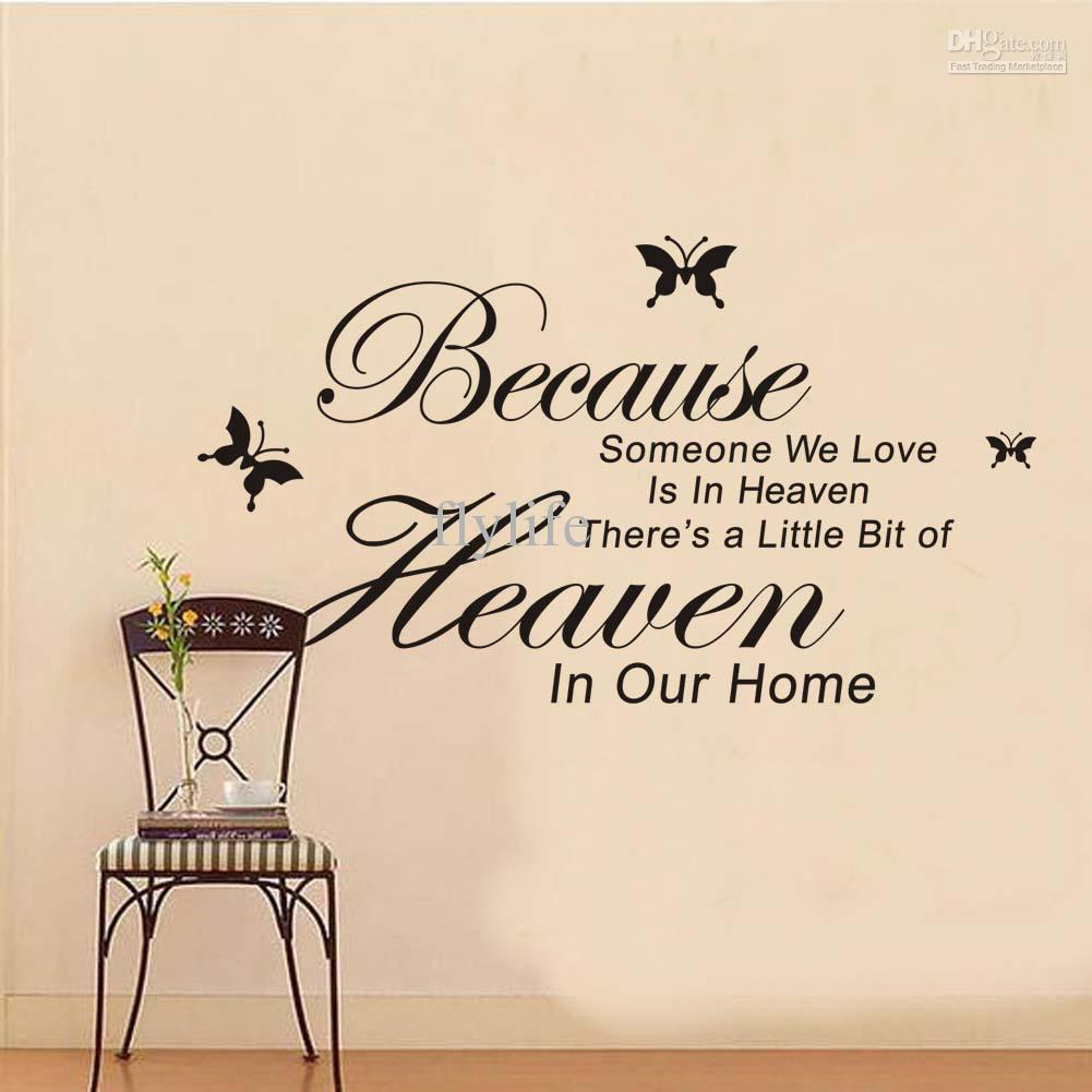 Because someone we love is in heaven vinyl wall lettering stickers because someone we love is in heaven vinyl wall lettering stickers quotes and sayings with black butterfly art decal wall decals quotes vinyl wall stickers amipublicfo Choice Image