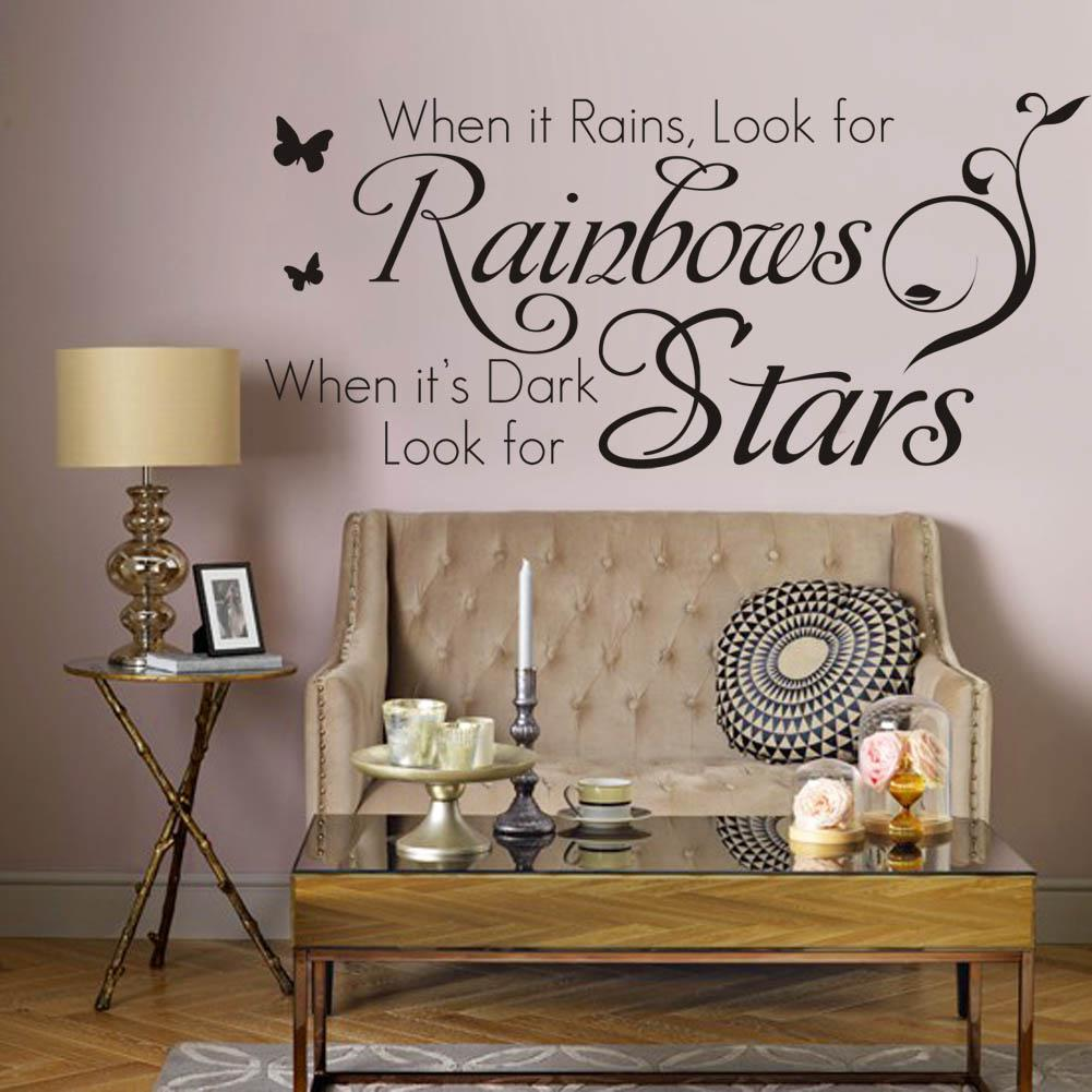 when it rains look for rainbows when it s dark look for stars when it rains look for rainbows when it s dark look for stars vinyl wall lettering stickers quotes home art decor decals wall decals quotes vinyl wall