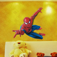 Removable arts spiders - Spider Man Wall Stickers Cartoon Movie Character Decorative Wall Decals for Kids Bedroom for Boys