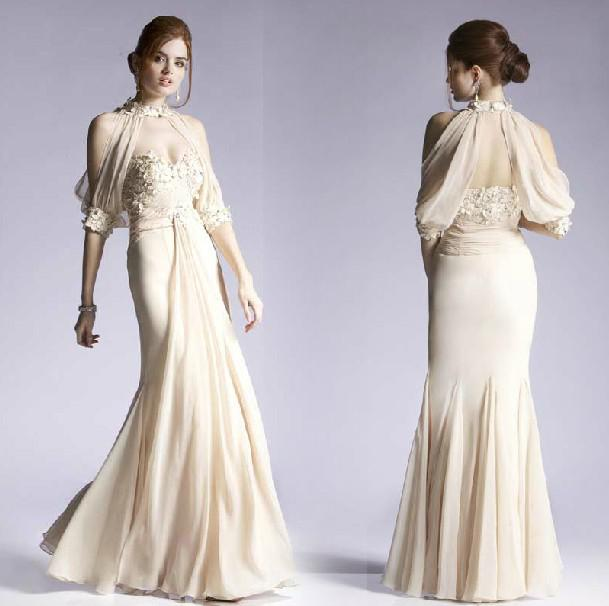 Buy Charming Champagne A-line Formal Evening Dress Detachable Half Sleeves Pleats Beads Rhinestones Long Party Gowns Prom /Evening Dresses